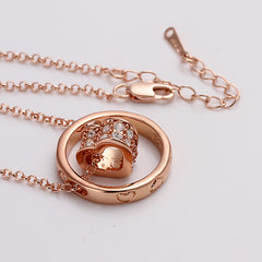 Rose Gold Plated Rolling Hearts Necklace