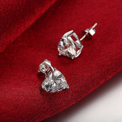 18K White Gold Plated Heart Shaped Crystal Stud Earring