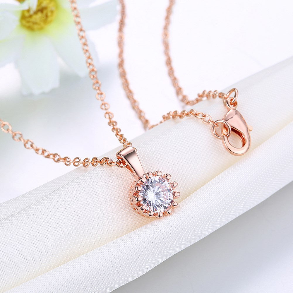Swarovski Crystal 18K Rose Plated Princess Cut Necklace