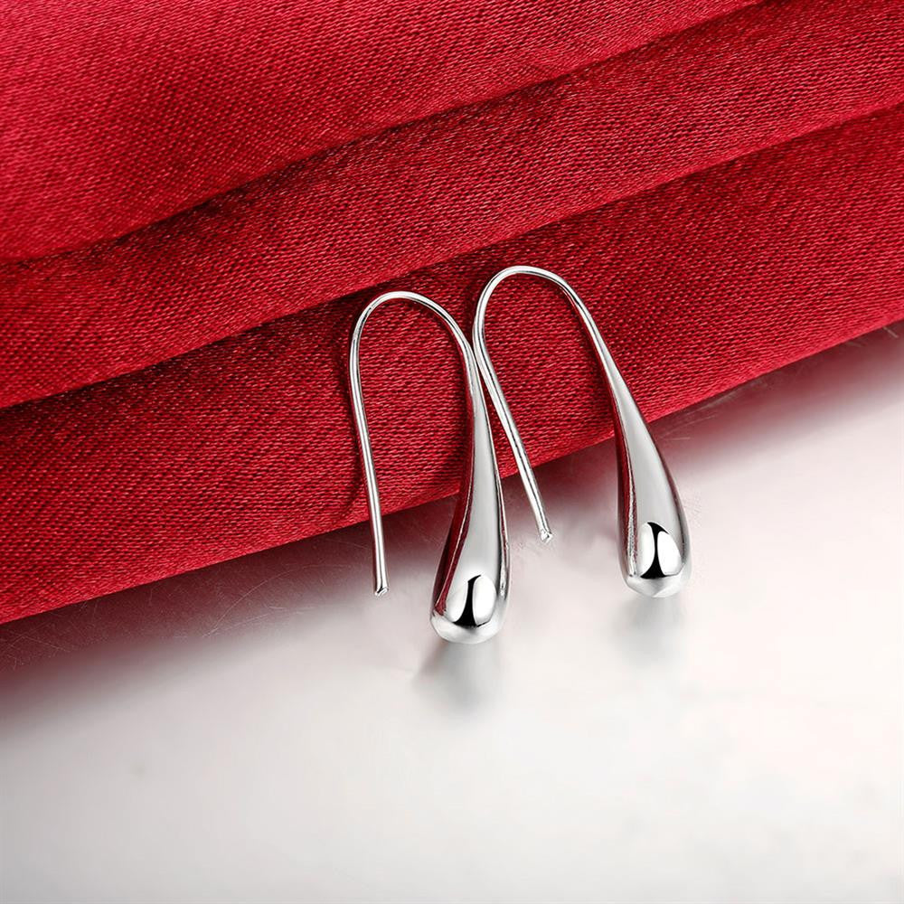 Teardrop Threader Earring in White Gold Plated