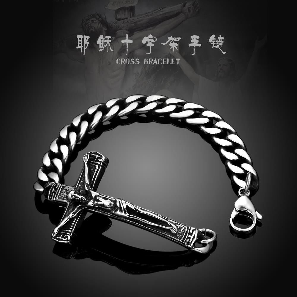 Christ's Cross Emblem Stainless Steel Bracelet