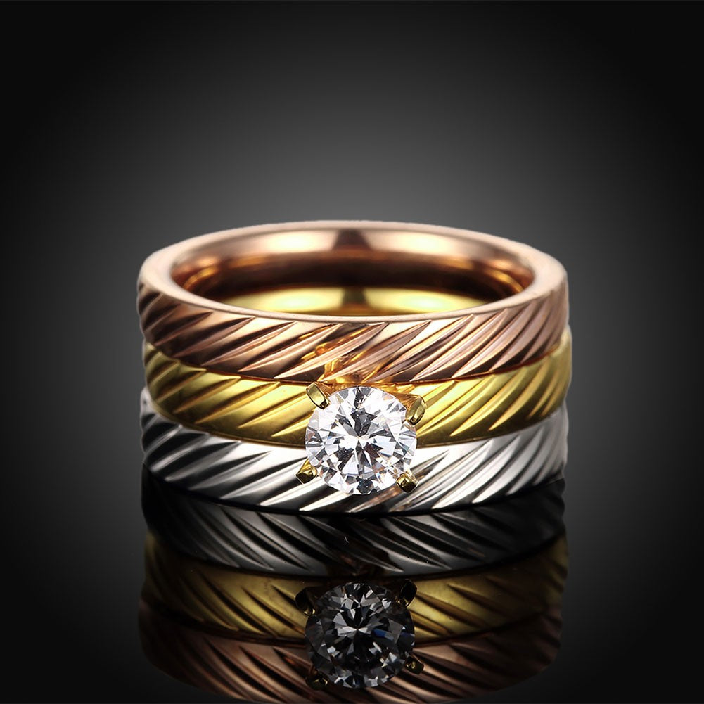 Swarovski Simulated Diamond  & Tri-Tone Swirl Stackable Ring Set