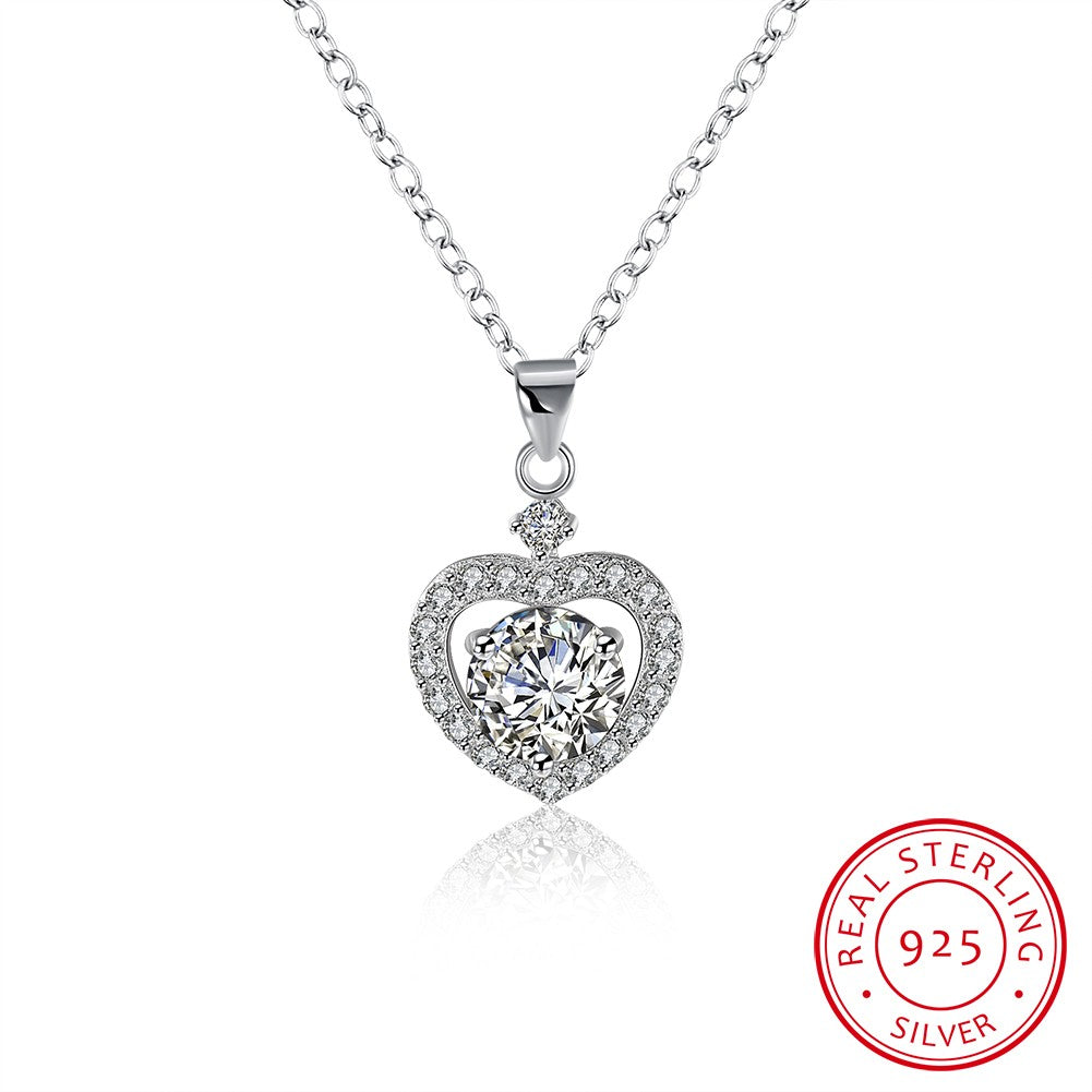 Swarovski® Crystal Elements  Heart Stone Sterling Silver Necklace