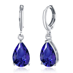 18K White Gold Plated 3-Prong Sapphire Pear Cut Drop Earring