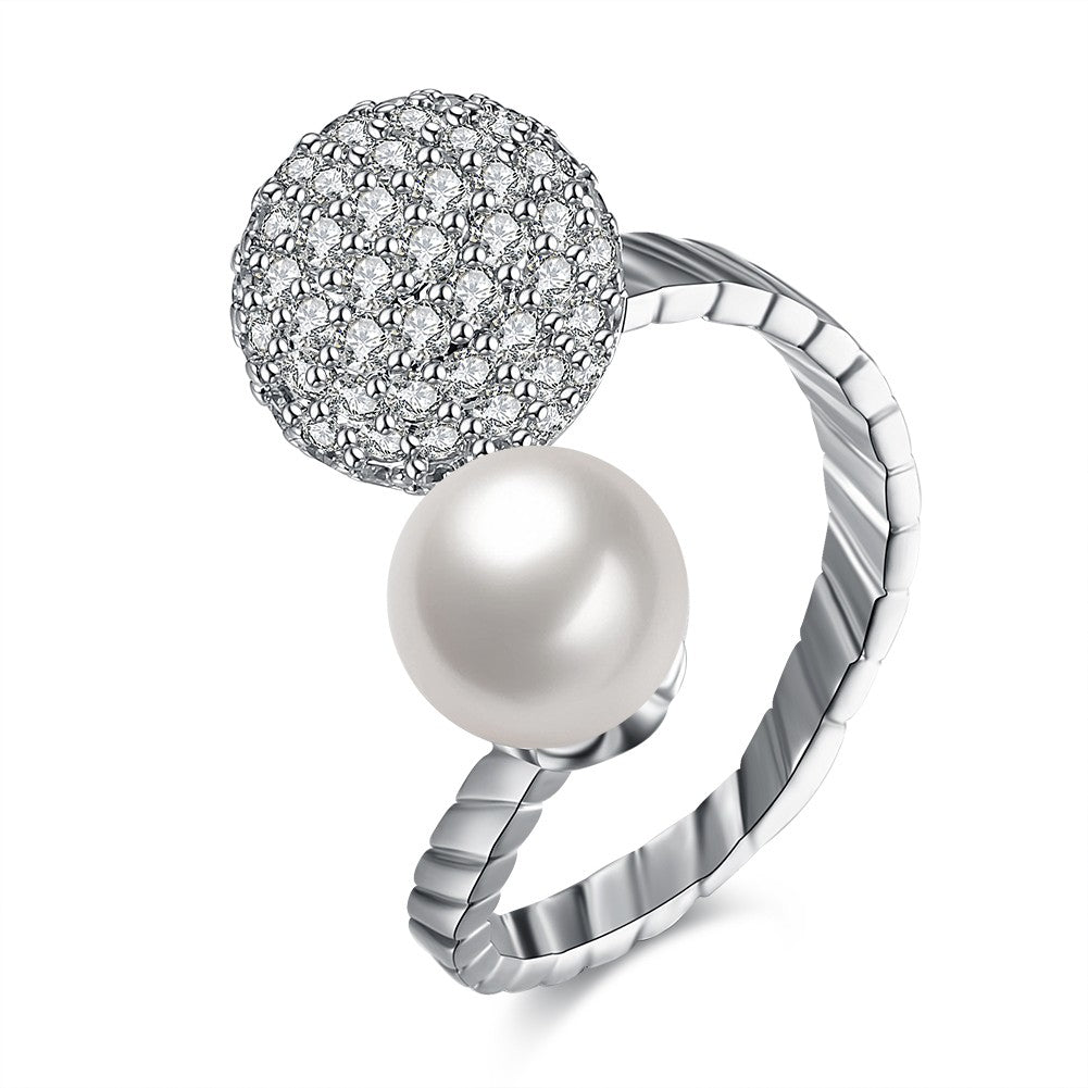 Swarovski Crystal 18K Gold Plated Adjustable Pave and Freshwater Pearl Ring