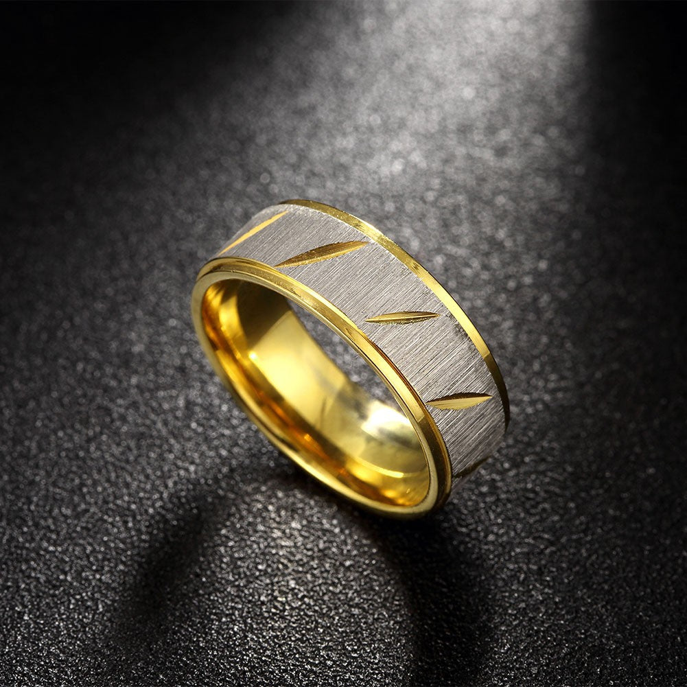 Stainless Steel & Gold Curve Band