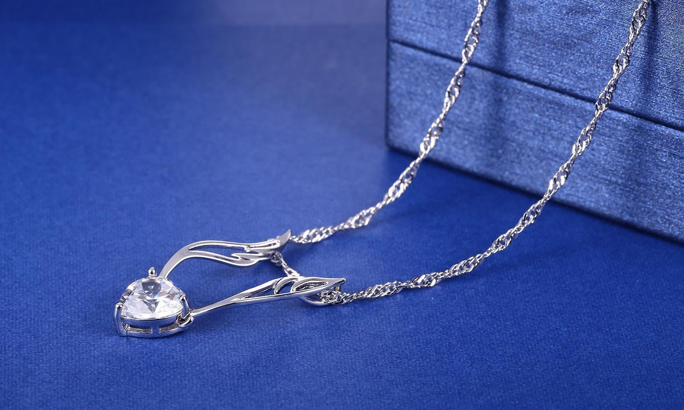 Guardian Angel Necklace in 18K White Gold Plated Made with Swarovski Crystal