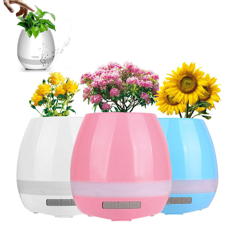 Flower Pots with Bluetooth Speakers and LED lights
