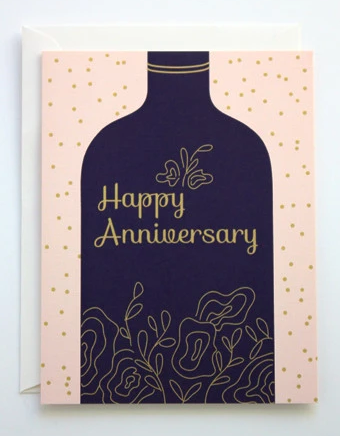 Designs By Val - Anniversary Wine card