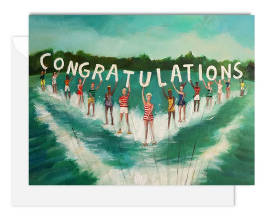 Janet Hill Studio - Water Skiers Congratulations Card