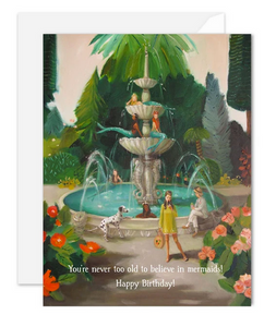 Janet Hill Studio - Selfie at the Public Mermaid Fountain Card