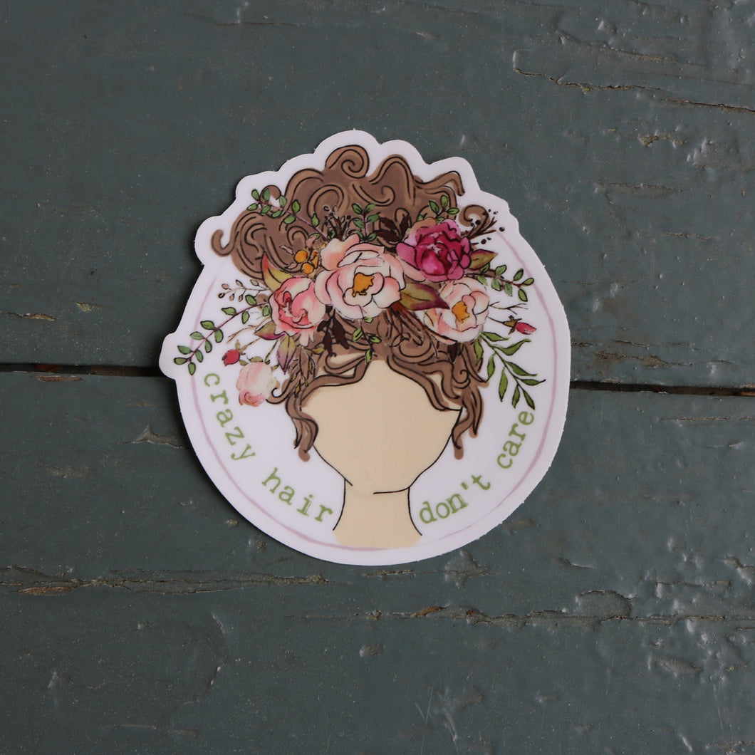 Crazy Hair Don't Care Sticker