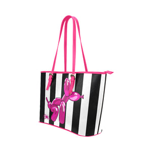 Pink Squatting balloon dog tote bag, black and white stripes, made from synthetic leather