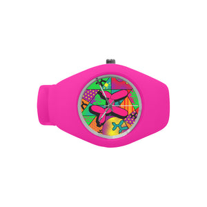 Pink Dog on Pink Silicone Watch - Pop Art Kaleidoscope