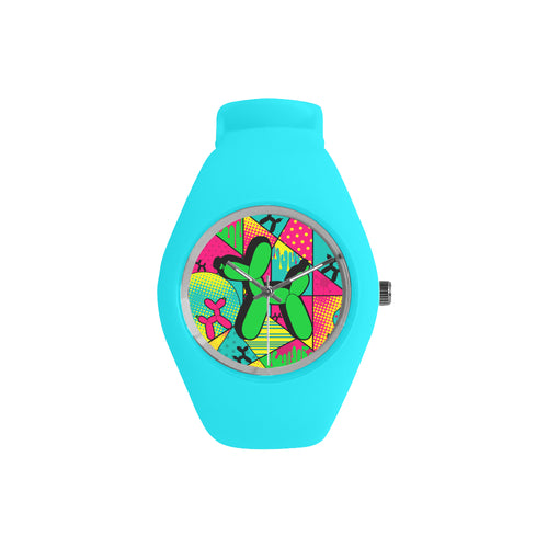 Green Dog on Blue Silicone Watch - Pop Art Kaleidoscope