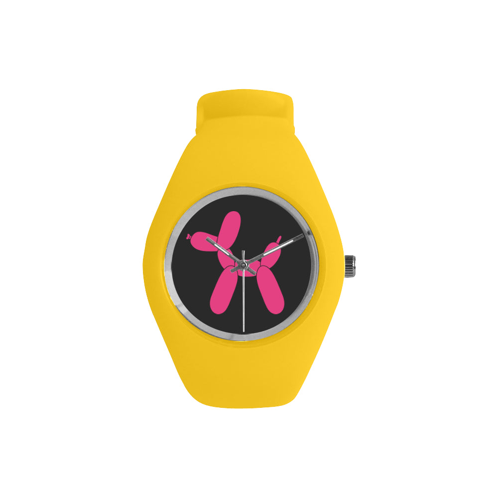 Classic Pink Dog on Black/Yellow Silicone Watch