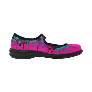 Dripping Pink and Teal Paint Mary Jane (SIZE 6-10)