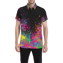 Load image into Gallery viewer, Paint Explosion on Black - Nate Short Sleeve Shirt (Small-2XL)