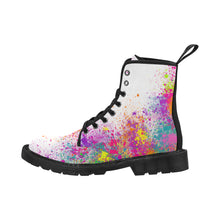 Load image into Gallery viewer, Jumping in Paint - White Ollie Combat Boots (SIZE 6.5 - 12)