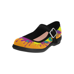 Dripping Orange and Teal Paint Mary Jane (SIZE 6-10)