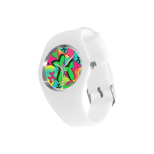 Green Dog on White Silicone Watch - Pop Art Kaleidoscope