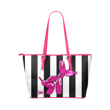 Load image into Gallery viewer, Pink Squatting balloon dog tote handbag, black and white stripes, made from synthetic leather