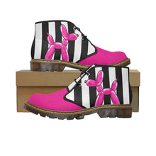 Load image into Gallery viewer, Pink Dog on Black & White - Women's Wazza Canvas Boots (SIZE 11-12)