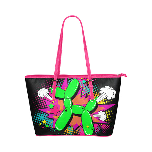 comic style balloon dog tote bag, with pink zip and handle. Made from synthetic leather