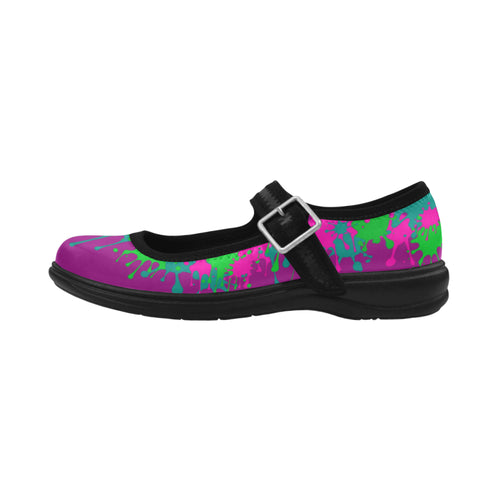 Dripping Purple and Green Paint Mary Jane (SIZE 6-10)