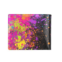 Load image into Gallery viewer, Paint Splatter on Black - Bifold Wallet with Coin Pocket