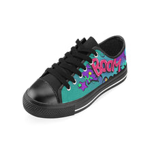 Load image into Gallery viewer, Leaky Squeaky BOOM! Teal on Black - Men's Sully Canvas Shoe (SIZE 13-14)