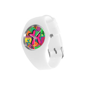 Pink Dog on White Silicone Watch - Pop Art Kaleidoscope