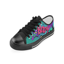 Load image into Gallery viewer, Leaky Squeaky BOOM! Teal on Black - Women's Sully Canvas Shoe (SIZE 6-10)