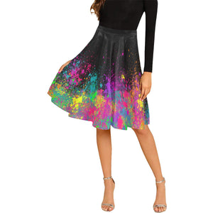 Paint Explosion on Black - Catie Circle Skirt