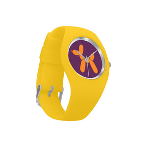 Classic Orange Dog on Purple/Yellow Silicone Watch