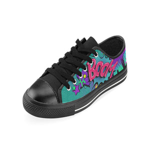 Leaky Squeaky BOOM! Teal on Black - Women's Sully Canvas Shoe (SIZE 11-12)