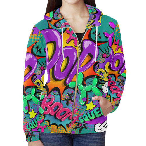 Leaky Squeaky BOOM! on Teal - Women's Zip Hoodie (XS-2XL)