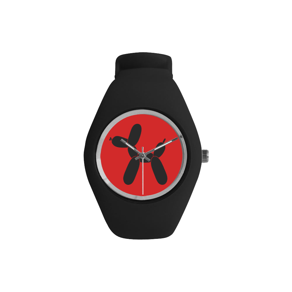 Classic Black Dog on Red/Black Silicone Watch
