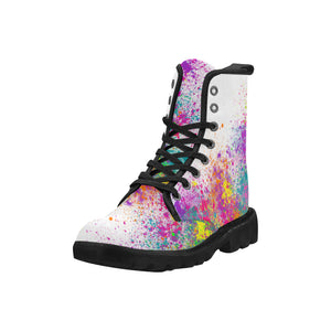 Jumping in Paint - White Ollie Combat Boots (SIZE 6.5 - 12)