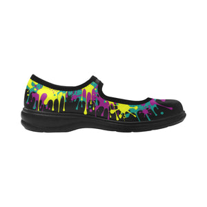 Dripping Black and Yellow Paint Mary Jane (SIZE 6-10)