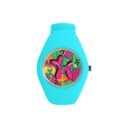 Pink Dog on Blue Silicone Watch - Pop Art Kaleidoscope