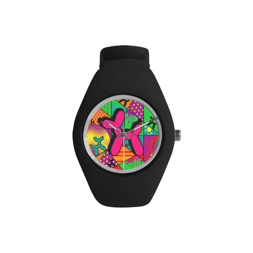 Pink Dog on Black Silicone Watch - Pop Art Kaleidoscope
