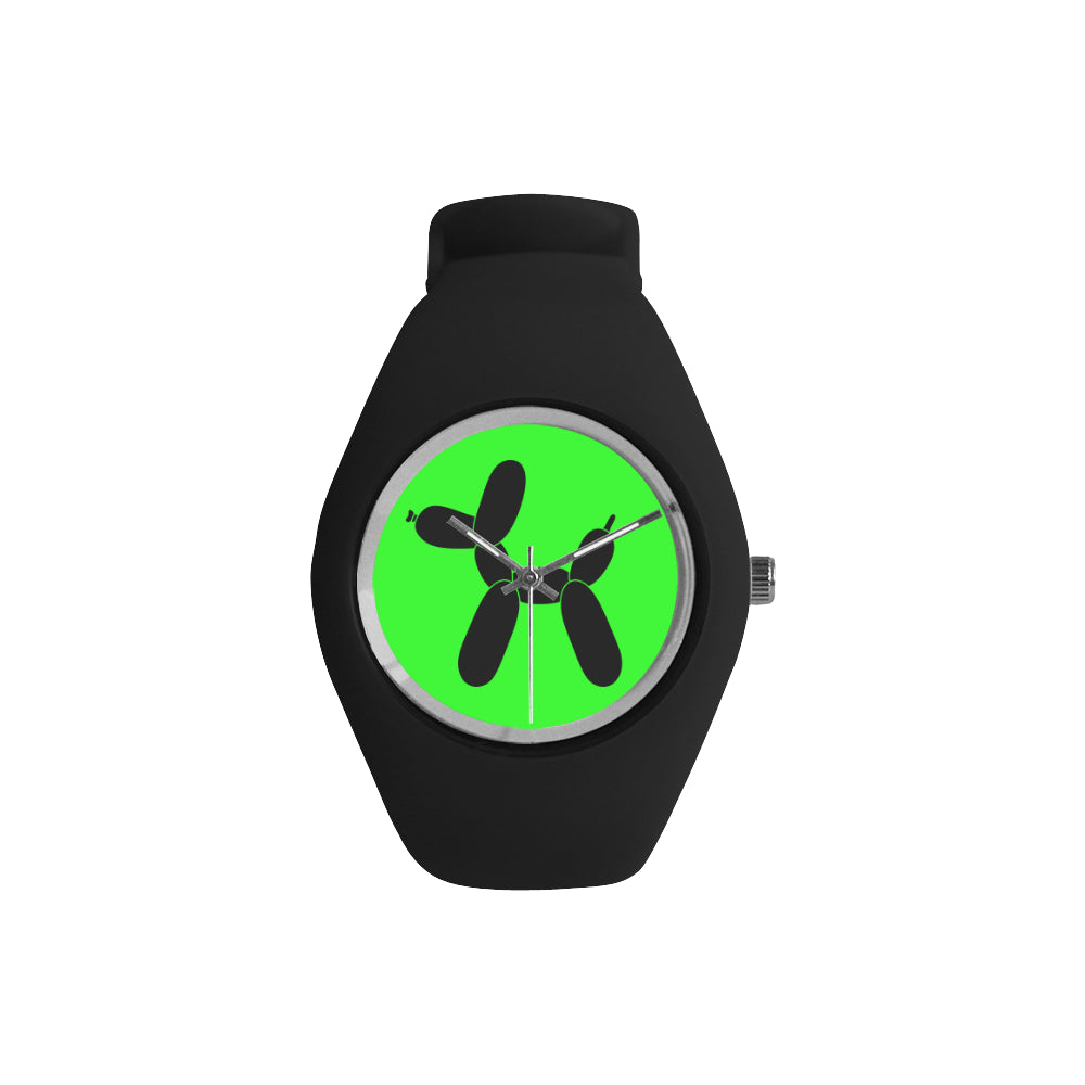 Classic Black Dog on Green/Black Silicone Watch