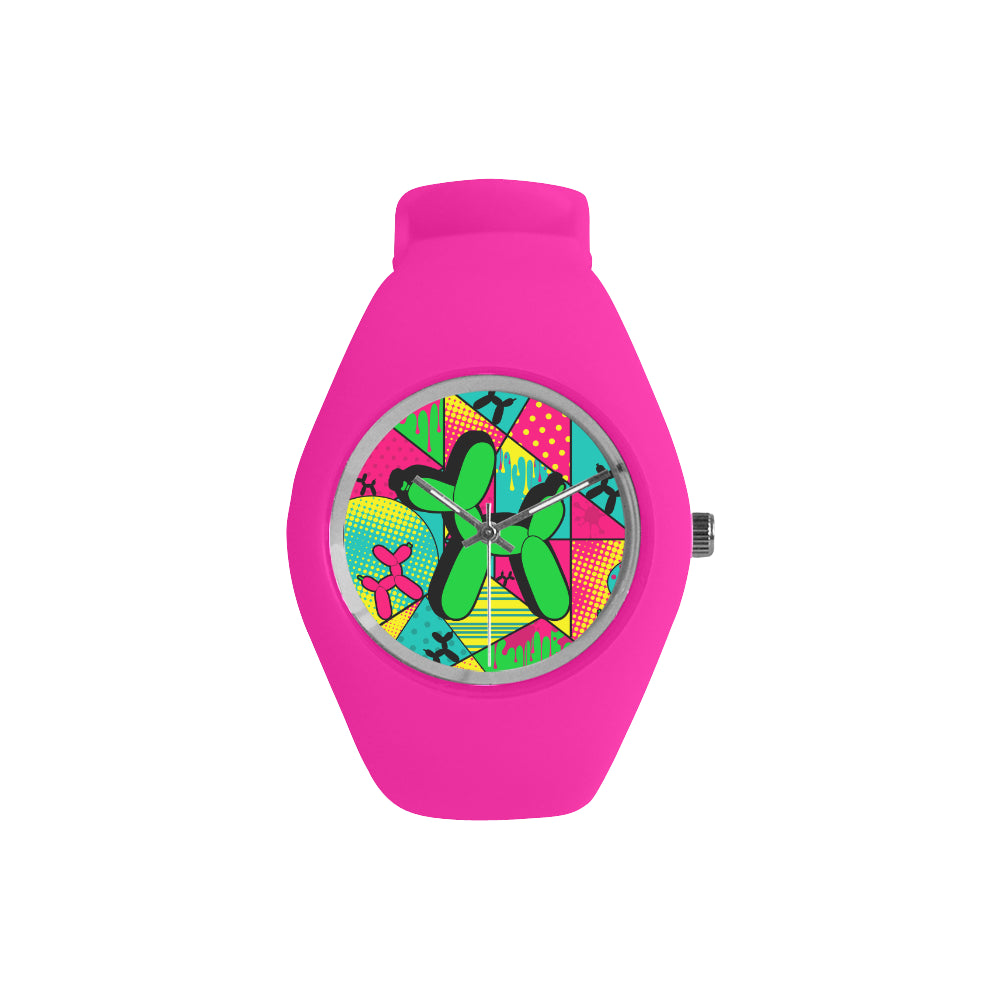 Green Dog on Pink Silicone Watch - Pop Art Kaleidoscope
