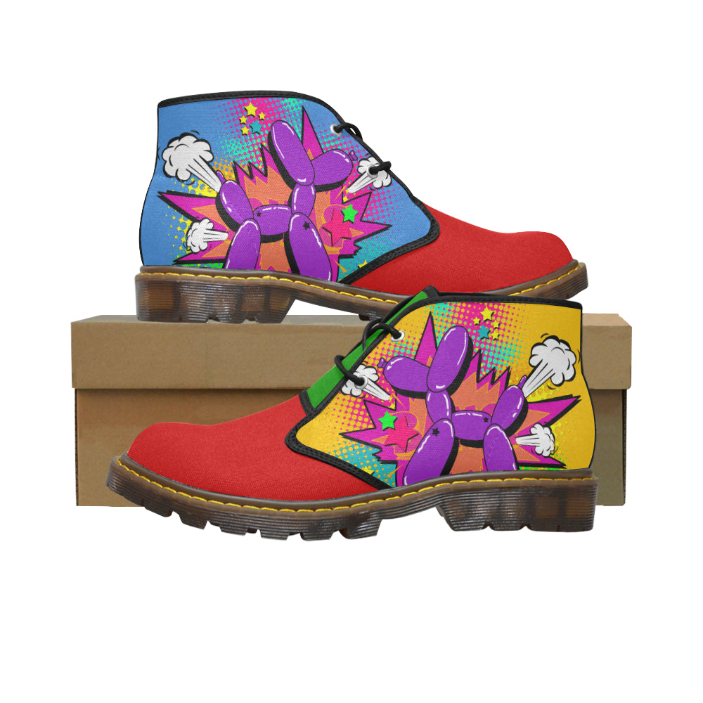 Purple Comic Dog Clown Colours - Men's Wazza Canvas Boots (SIZE 7-12)