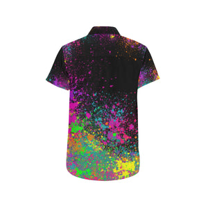 Paint Explosion on Black - Nate Short Sleeve Shirt (Small-2XL)