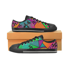 Load image into Gallery viewer, Colourful Black Dog - Kids Sully Canvas Shoes