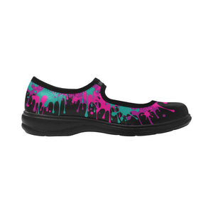 Dripping Black and Pink Paint Mary Jane (SIZE 6-10)