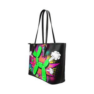 comic style balloon dog tote bag, made from synthetic leather - Black
