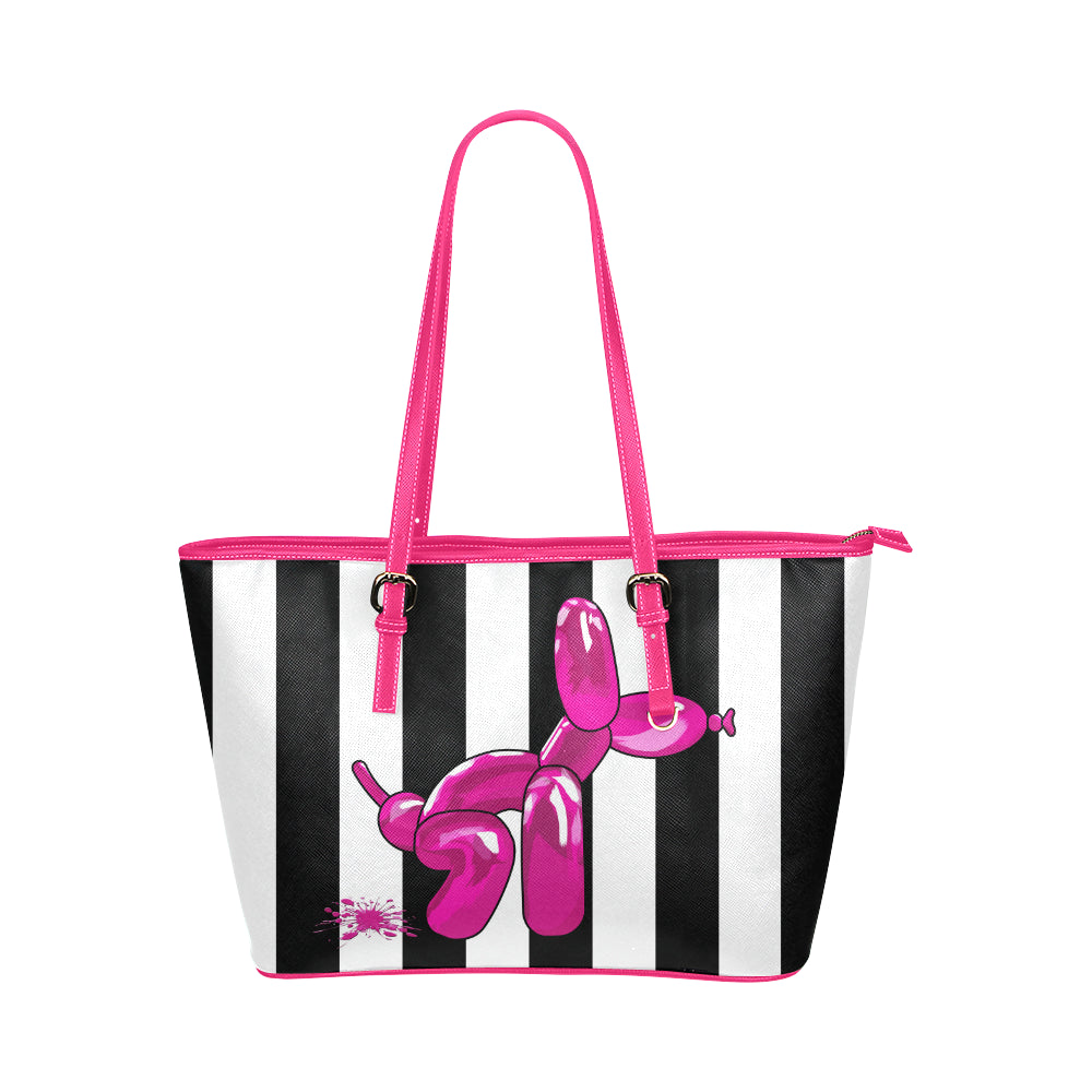 Pink Squatting balloon dog tote handbag, black and white stripes, made from synthetic leather